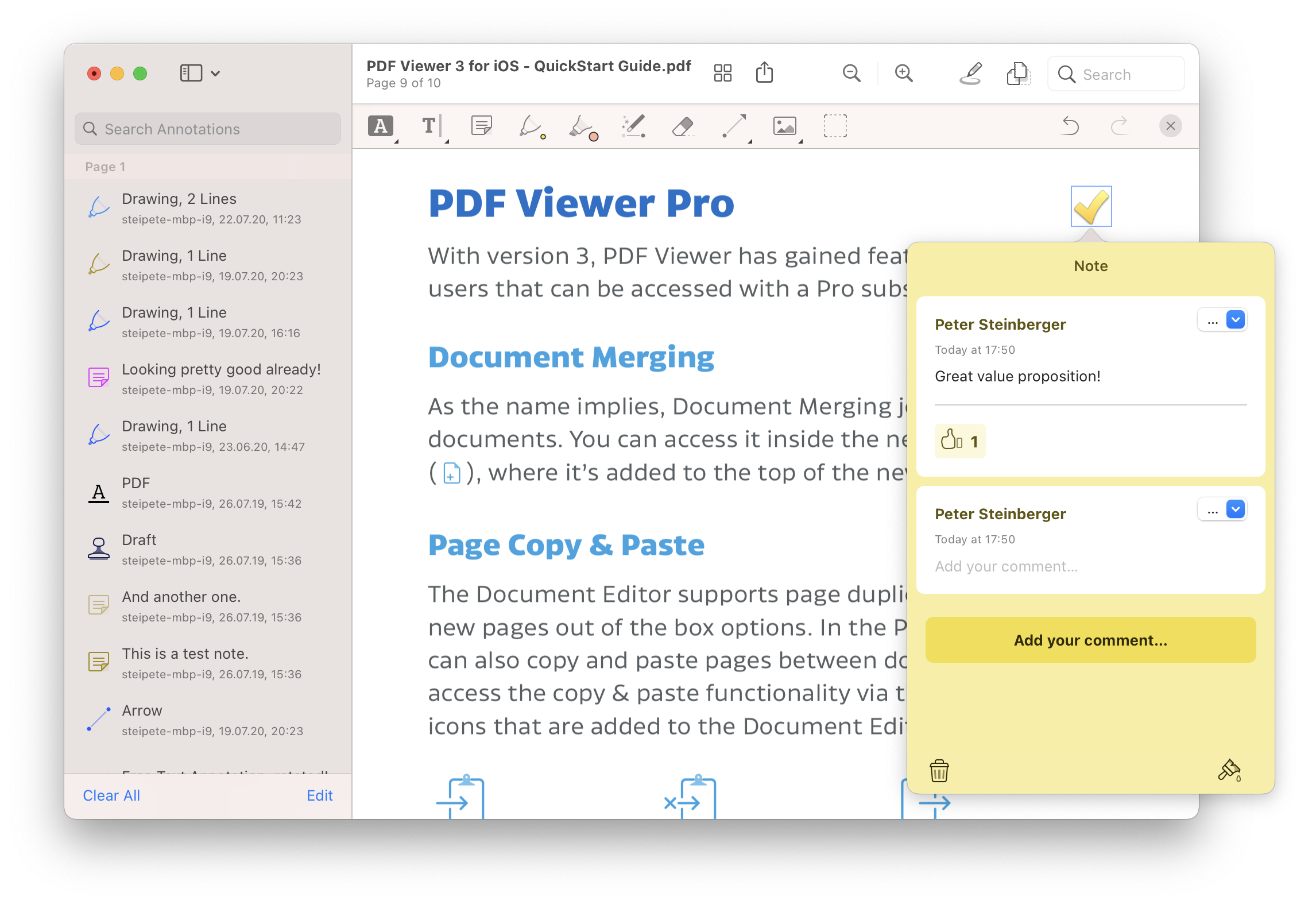 PDF Viewer with an open note annotation